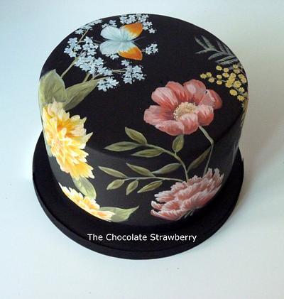 Black Floral - Cake by Sarah Jones
