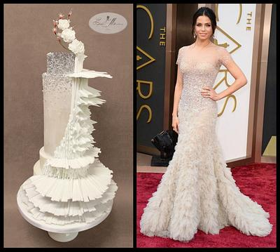 Fashion inspired cake Reem Acra worn by Jenna Tatum Oscars 2014 - Cake by Nuria Moragrega - Cake Mistress