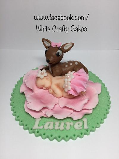 Sleeping Baby and Fawn Topper - Cake by Toni (White Crafty Cakes)