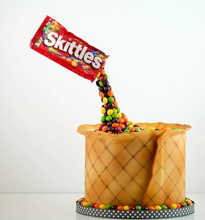 Skittles gravity cake - Cake by Maria