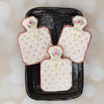 Perfume Bottle Cookies with Dimensional Bows - Cake by Bobbie