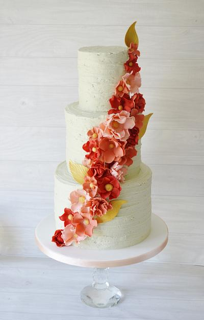 Pale Mint rustic buttercream with coral tone ruffle flowers - Cake by Krumblies Wedding Cakes