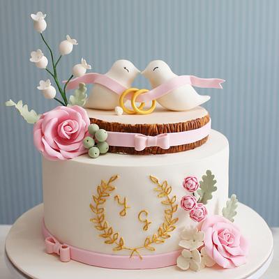Elegant engagement cake - Cake by asli