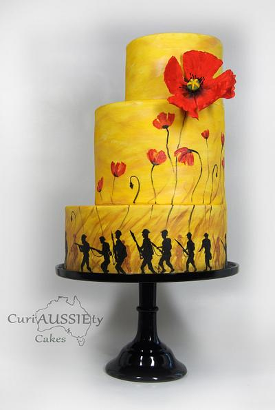 """""""Lest we Forget"""" ANZAC day 100 yrs on cake collaboration - Cake by CuriAUSSIEty  Cakes"""