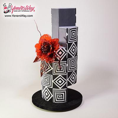 Modern Wedding Cake with Isomalt Flower - Cake by Serdar Yener   Yeners Way - Cake Art Tutorials