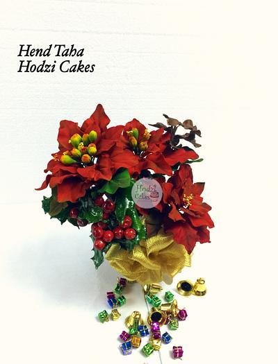 Pionsettia Flowers Bouquet-CPC Christmas Collaboration - Cake by Hend Taha-HODZI CAKES