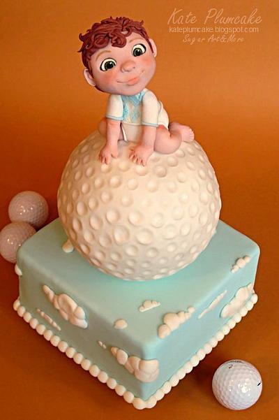 Baby golfer cake - Cake by Kate Plumcake