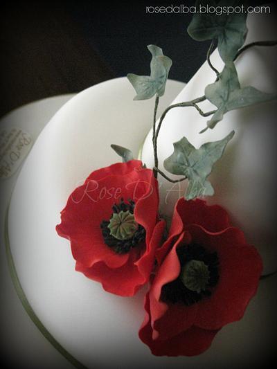 Red poppy cake. - Cake by Rose D' Alba cake designer
