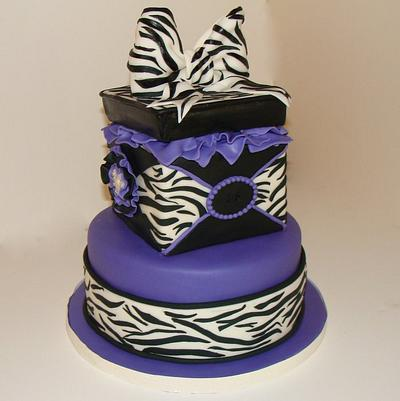 Zebra Stripe Gift Box - Cake by BellaCakes & Confections