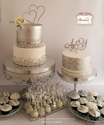 Silver and white  - Cake by mona ghobara/Bonboni Cake