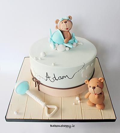 Teddy bear christening cake - Cake by Elaine Boyle....bakemehappy.ie
