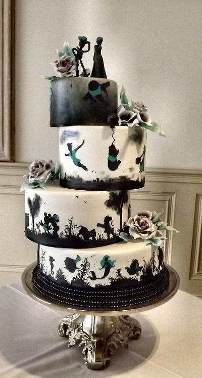 Disney Silhouette Wedding Cake - Cake by Storyteller Cakes