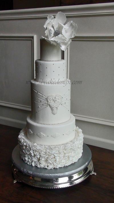 Beaded Wedding Cake - Cake by Shannon Bond Cake Design