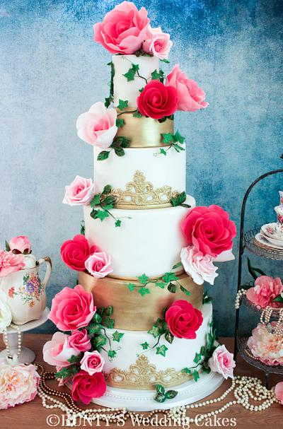 Elegant Gold with Popping Pink Roses! - Cake by Bunty's Wedding Cakes