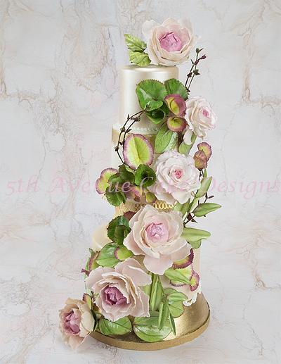 Floral and Foliage Wedding Cake - Cake by Bobbie