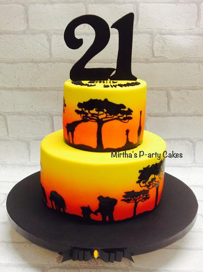African sunset themed cake - Cake by Mirtha's P-arty Cakes