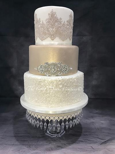 Antique Champagne wedding cake  - Cake by Costa Cupcake Company