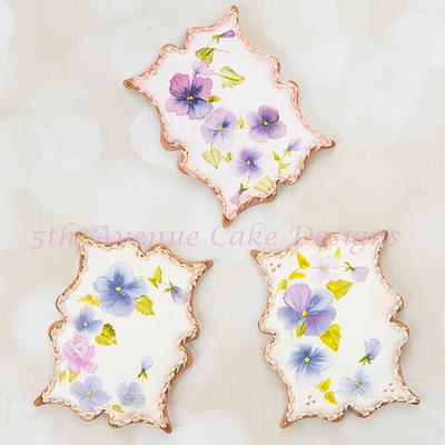 Hand Painted Pansy Cookies 🖌️🖌️🎨💐 - Cake by Bobbie