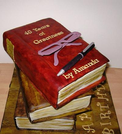 Stacked Books Cake - Cake by Carol Vaughan
