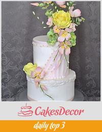 Wedding cake with sugar bouquet