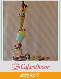 Gravity defying sweet treats tower cake!!