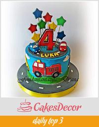Kids vehicle cake