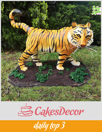 3D Tiger sculpted cake