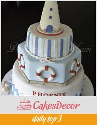 Nautical themed christening cake
