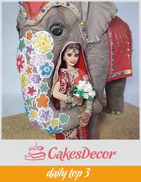 Sri Lanka bride posing with an elephant