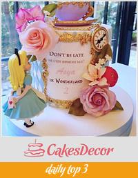 Floral Alice in Wonderland Cake