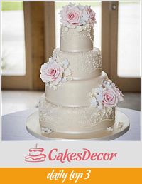 Vintage rose, lace and pearls wedding cake