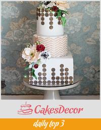 Peony and Ranunculus Geometric Wedding Cake