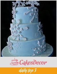 Snowflake Themed Wedding Cake