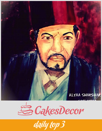 Hand Painted cake Naguib el-Rihani نجيب الريحاني
