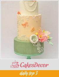 Bridal dress inspired wedding cake