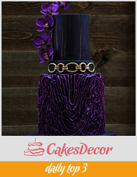 purple, black and gold wedding cake