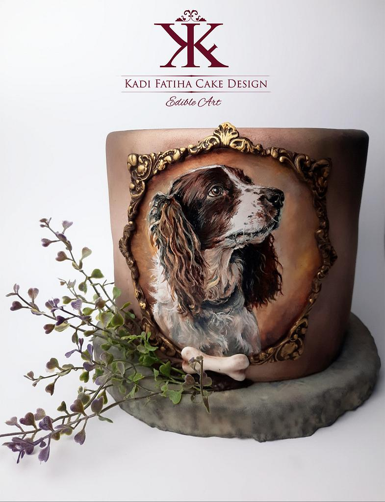Handpainted dog cake by Fatiha Kadi