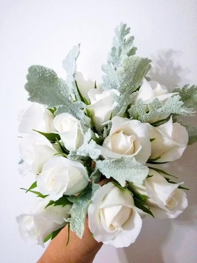 white roses bouquet by Mihaela Calin