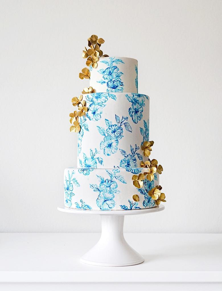 Hand Painted Blue China Inspired Cake by Anna Astashkina