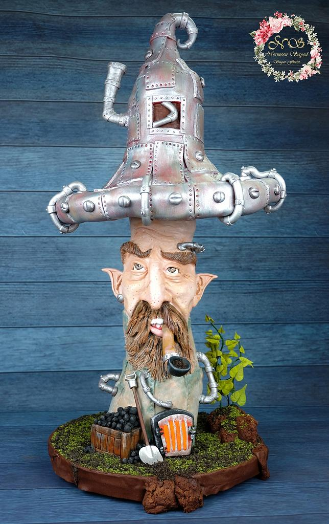 Mushroom Pipe sculpture cake  by Nana Rose Cake