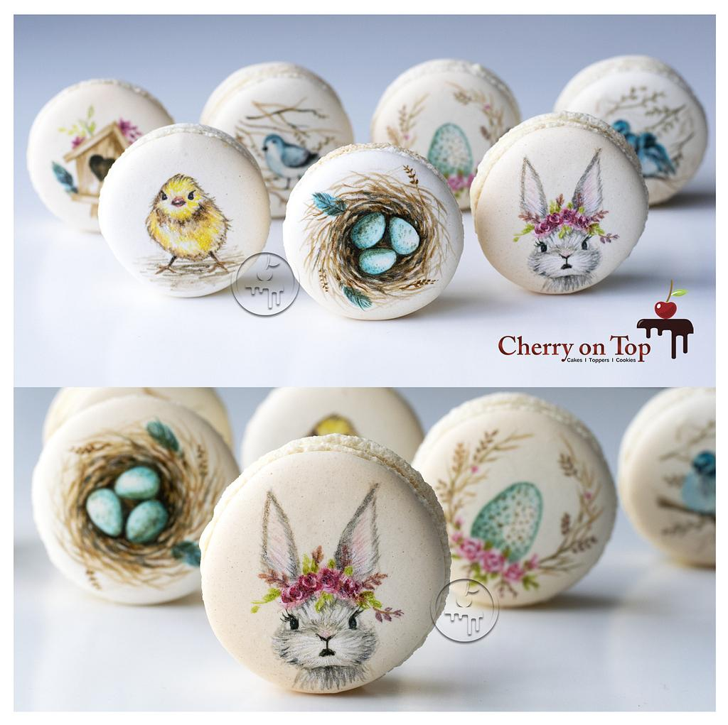 Hand painted Mini Macarons by Cherry on Top Cakes