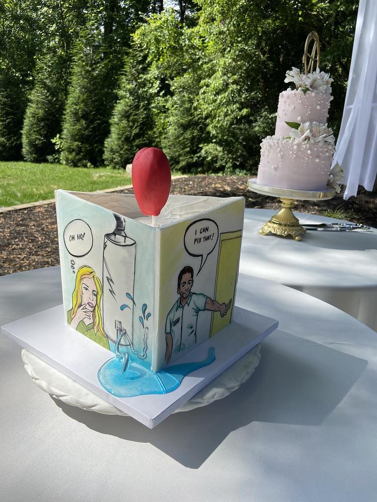 Pop art groom's cake that tells a story! by Artsy Cakesy