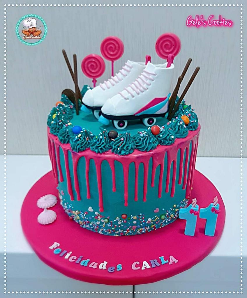 Skates drip cake by Gele's Cookies