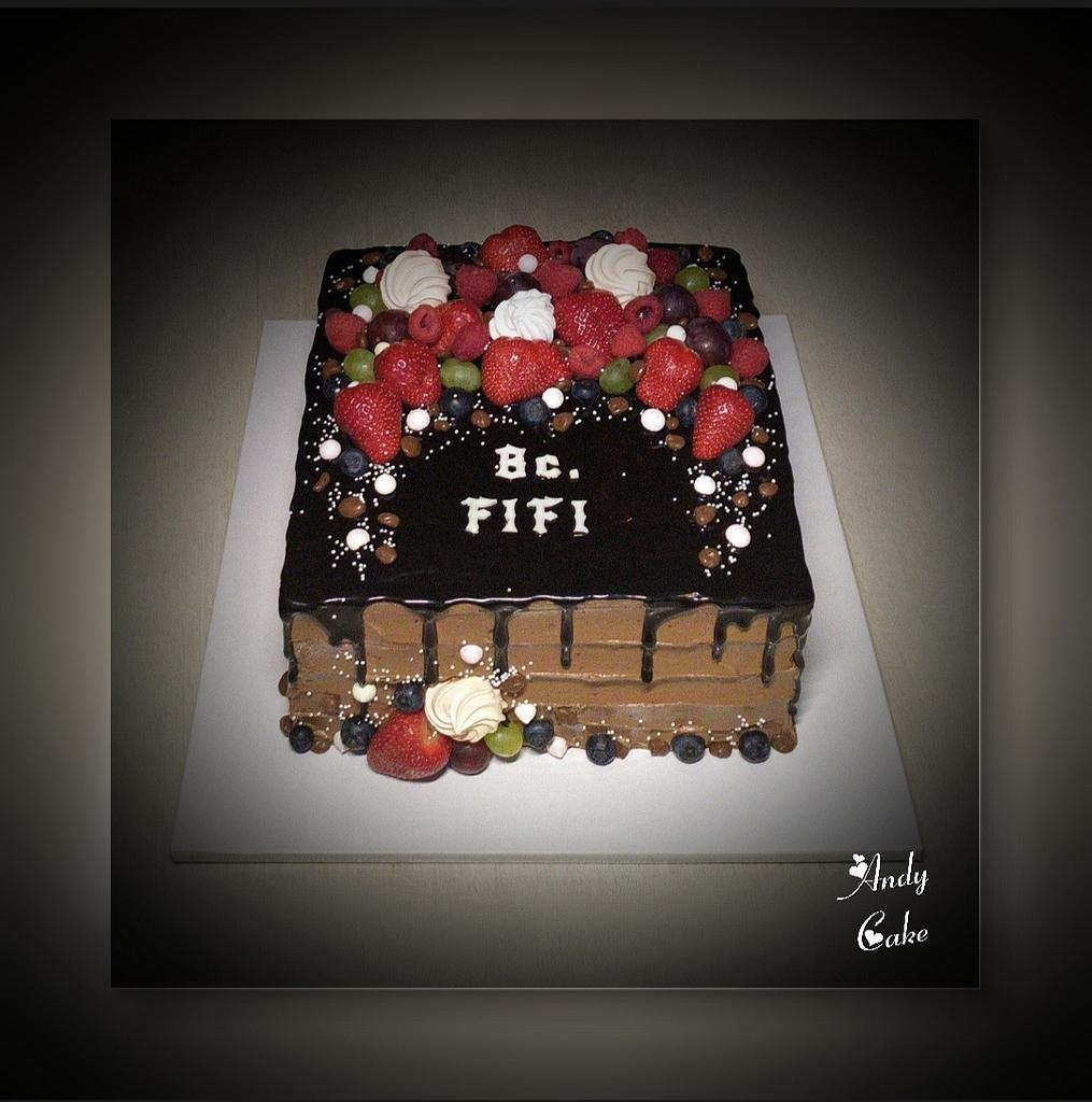 Chocolate cake with fresh fruits by AndyCake