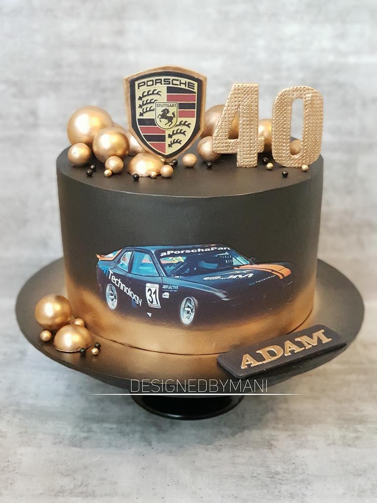 Porsche car cake by designed by mani