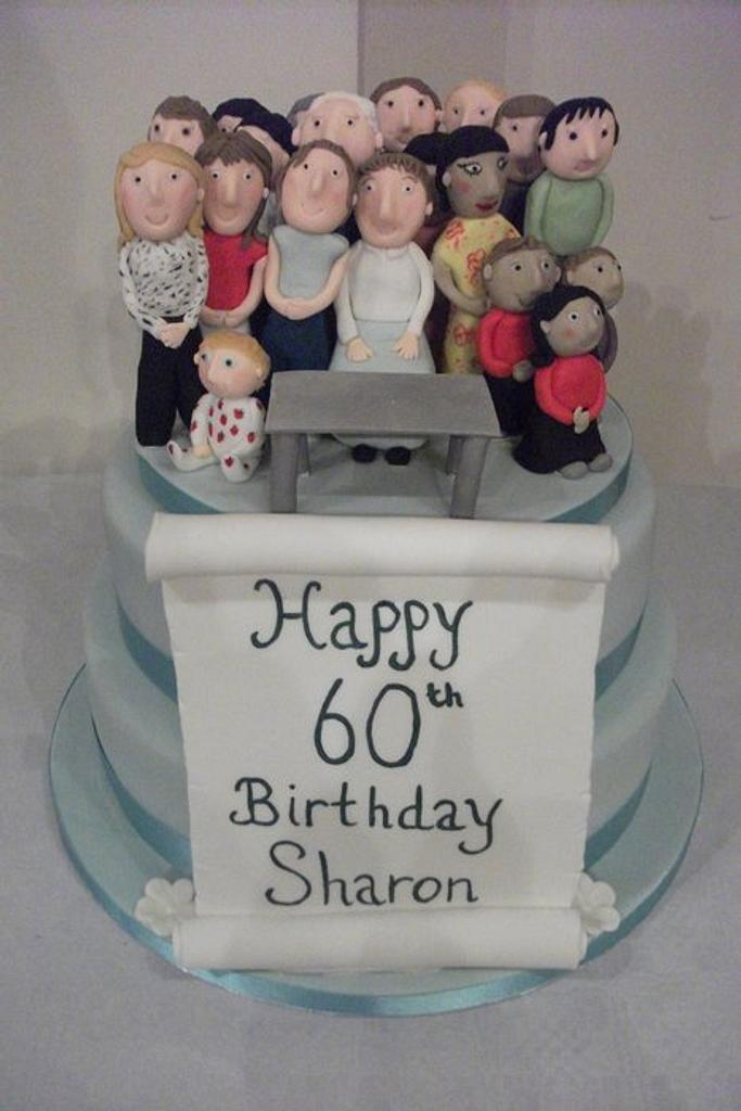 60th Birthday cake with family and friends by Lyndsey Statham
