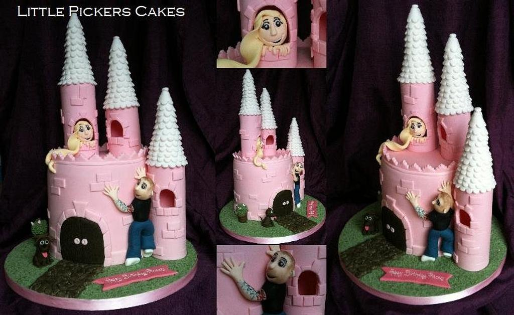first castle cake and first checker board sponge inside! by little pickers cakes