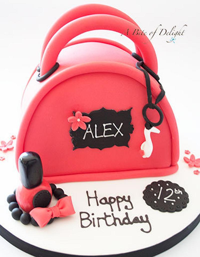 Red Handbag Cake by Melanie