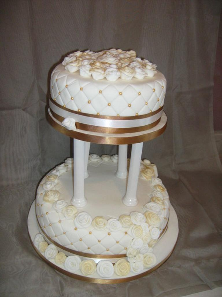 Gold & Ivory wedding cake  by Tracey