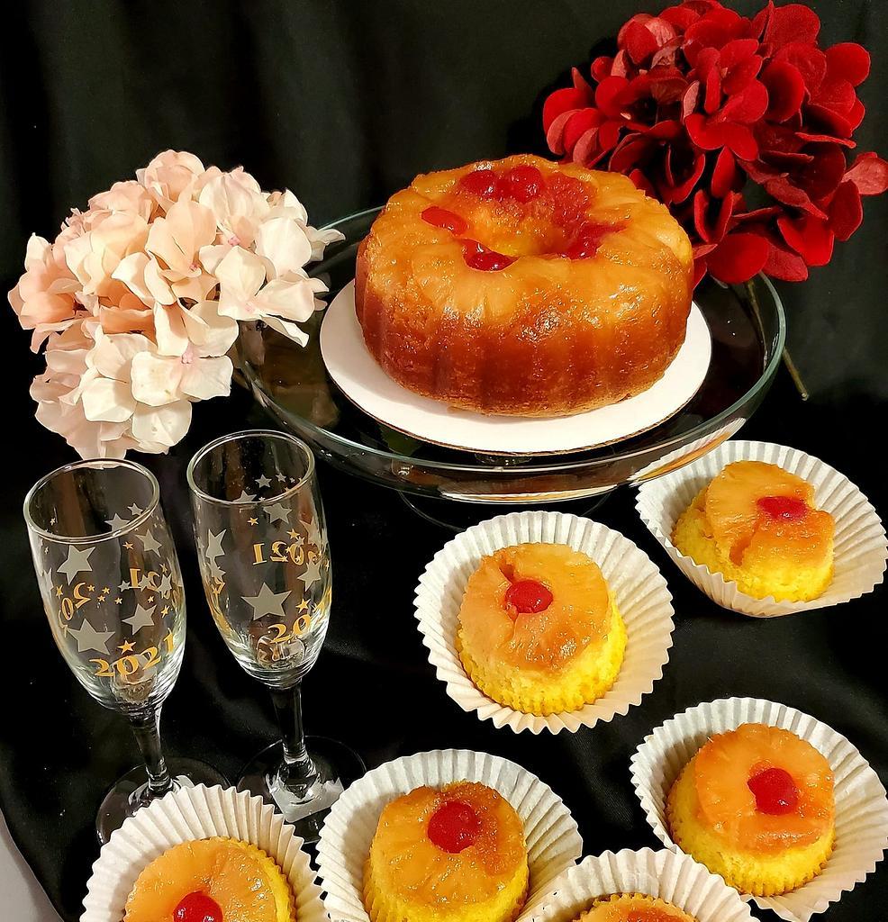 Mini pineapple upside down pound cake and jumbo cupcakes by Celene's Cuisine